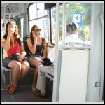 Latvian girls in a Latvian trolleybus